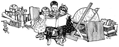 Rajz, játékok tetején három gyermek könyvet olvas